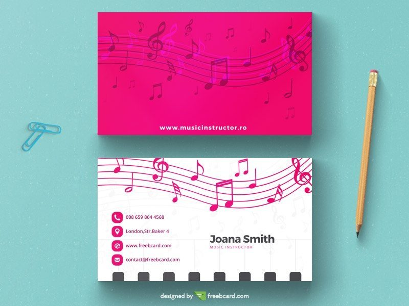Musical magenta business card template