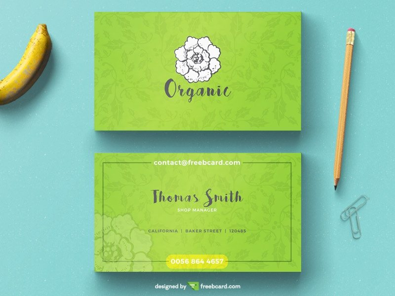Creative Minimal green floral business card template