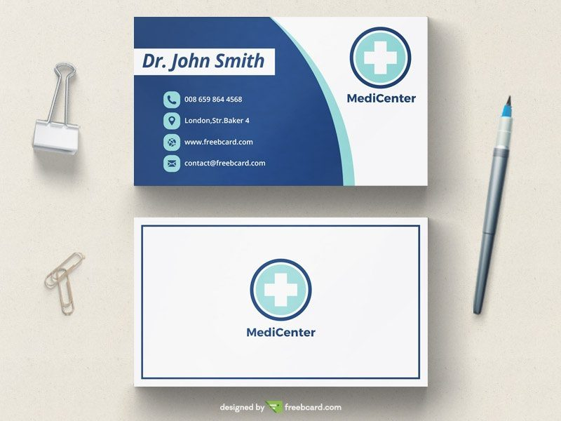 Clean modern medical business card template