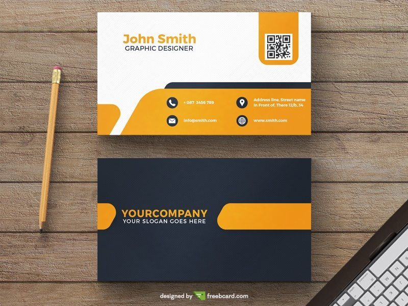 Yellow minimal business card template