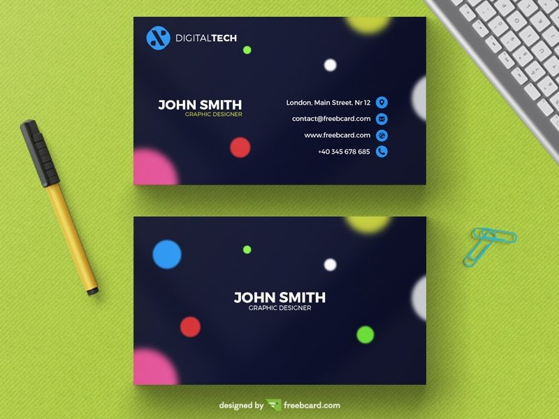 Modern business card with blurred circles
