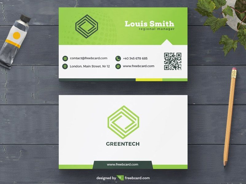 Green minimal business card template