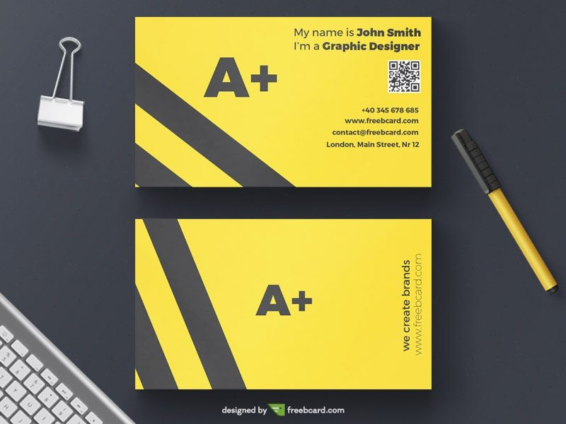 Creative minimal yellow agency business card template reheart Gallery