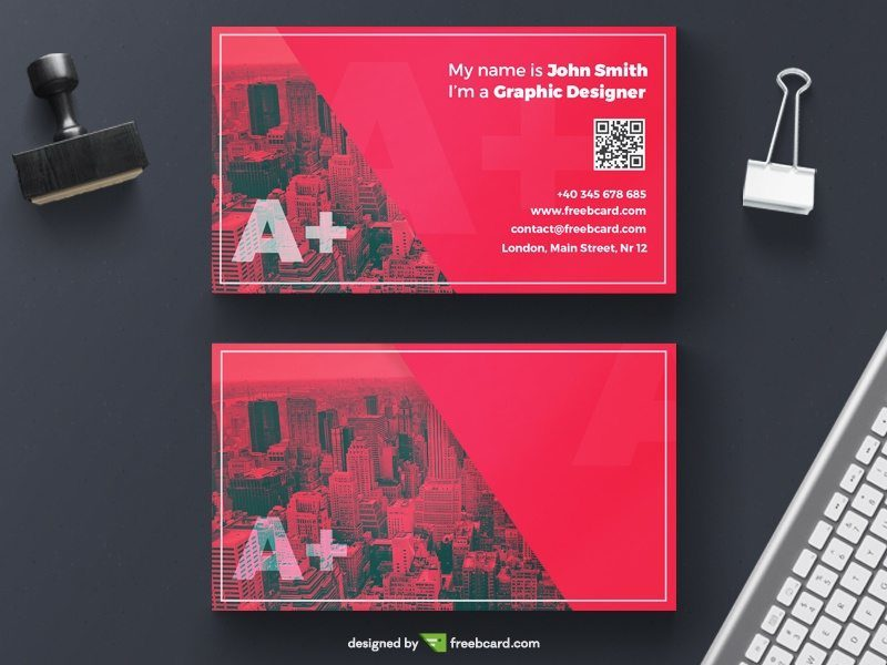 Red creative business card for agencies
