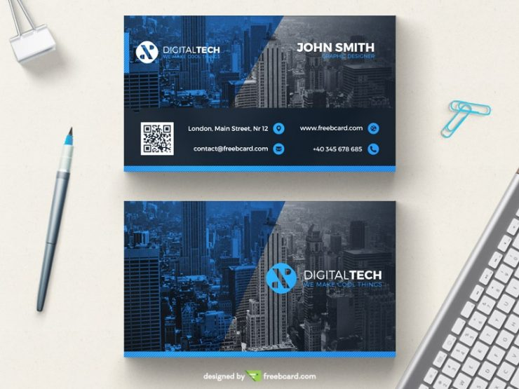 Blue and grey creative business card