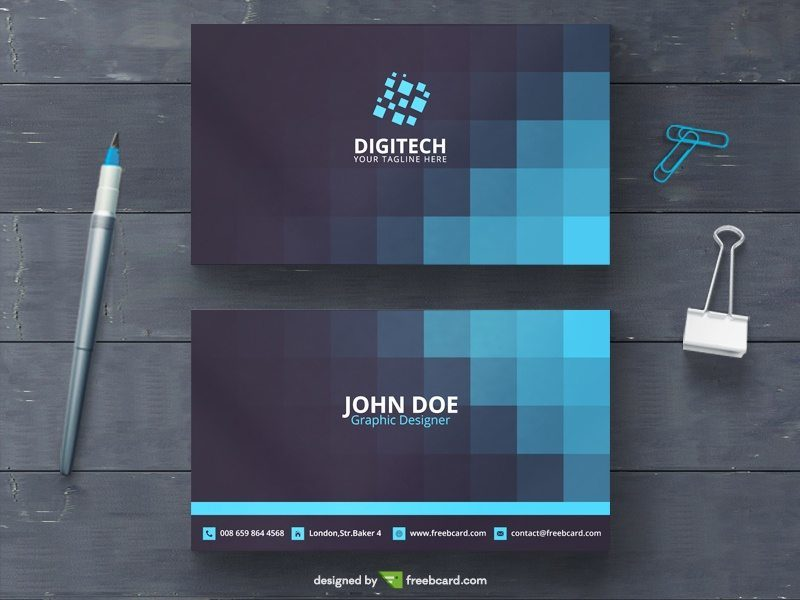 Blue business card with squares