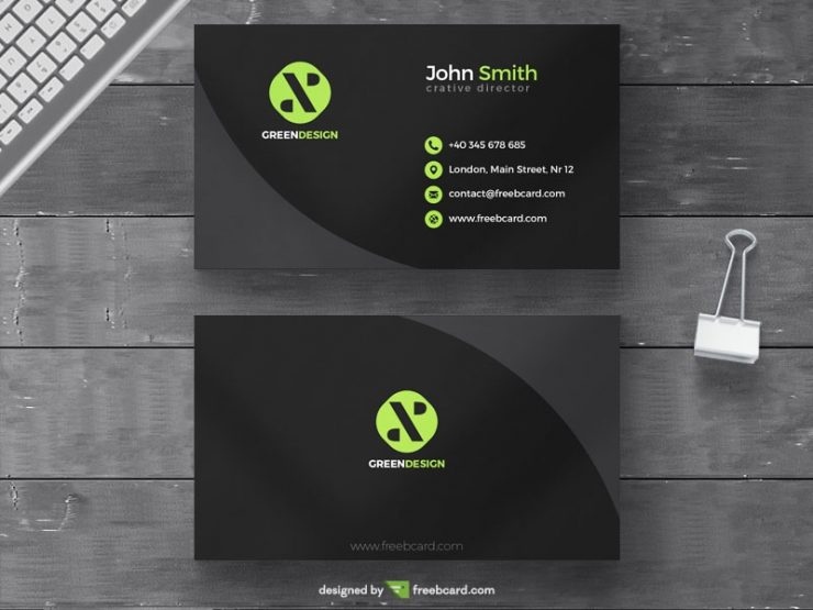 Minimal green agency business card template