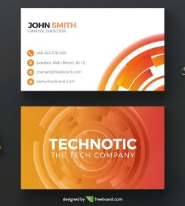 Abstract orange technology business card