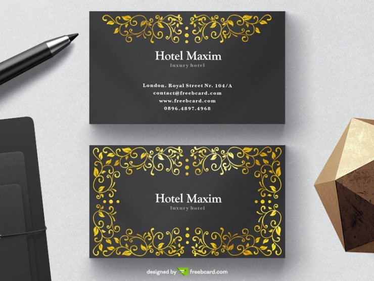 Luxury black business card with golden floral elements