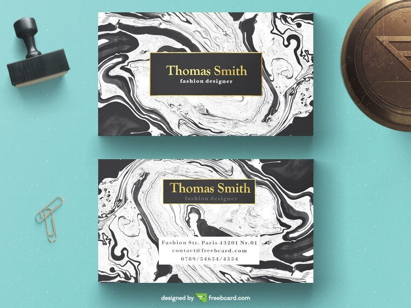 Elegant business card on white marble background