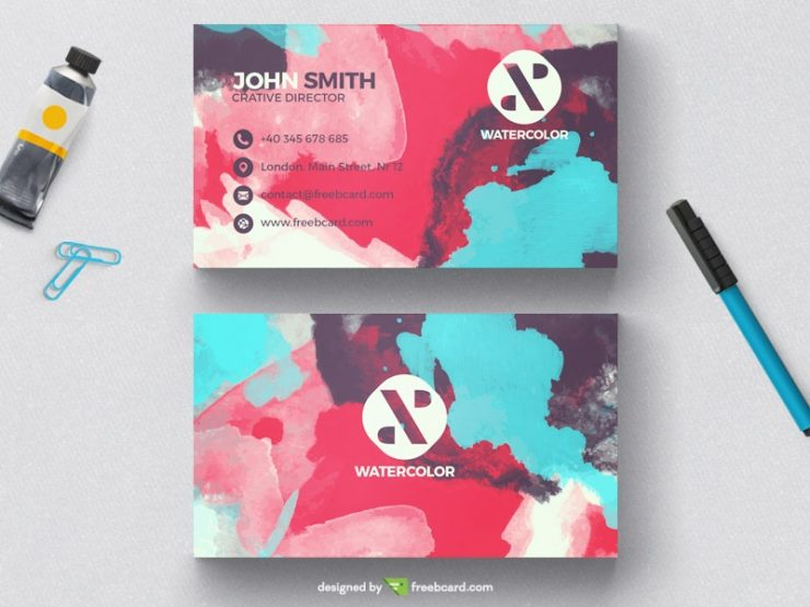 Creative watercolor business card template