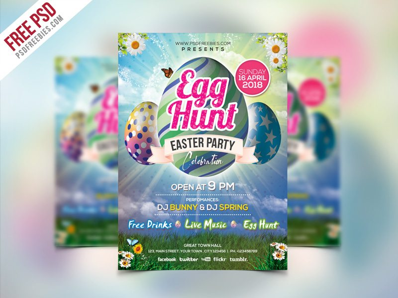 Creative Easter Party Invitation Flyer Template PSD