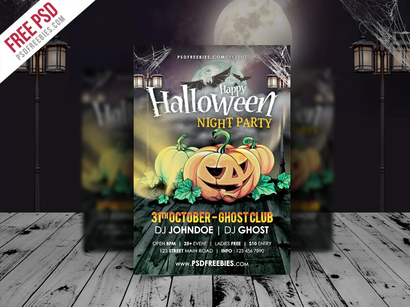 Creative Halloween Night Party Flyer Template Free PSD