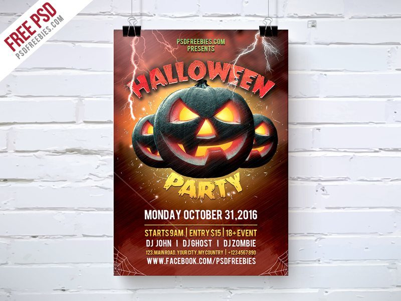 Creative Halloween Party Flyer Template Free PSD