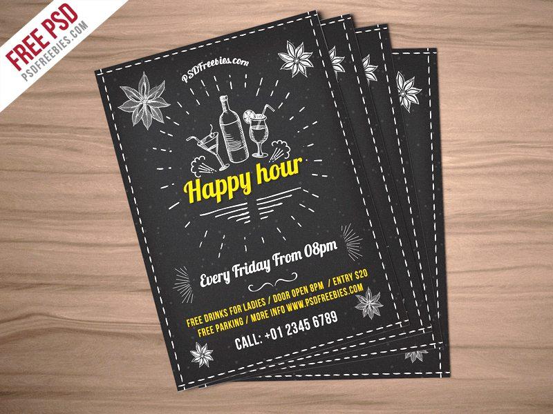 Creative Happy Hour Party Invitation Flyer Free PSD