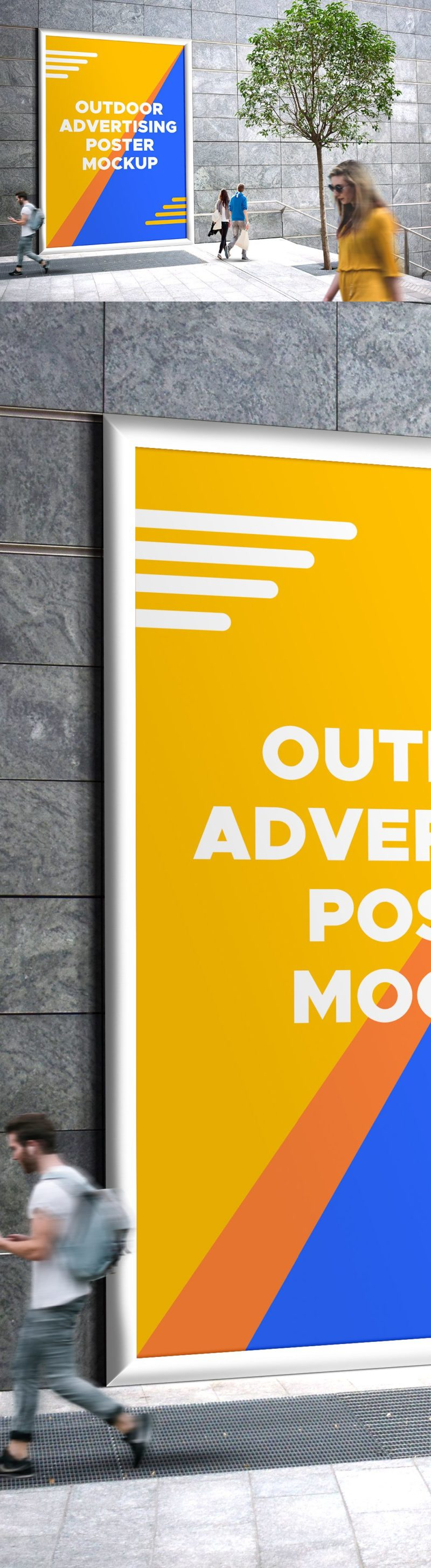 Creative  Outdoor Advertising Poster Mockup PSD