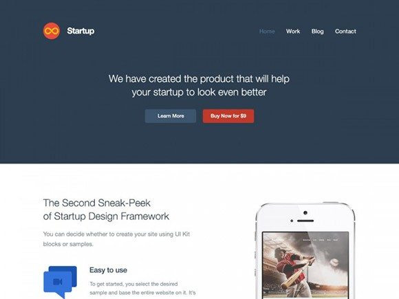 Creative Startup website template PSD