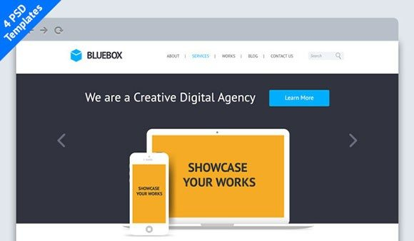 Creative BlueBox: Flat Website PSD Template