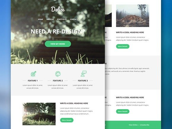 Creative Delize ‰ÛÒ Email PSD template