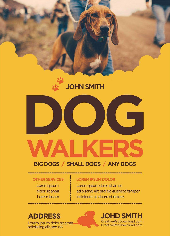 Creative Dog Walkers Flyer Template