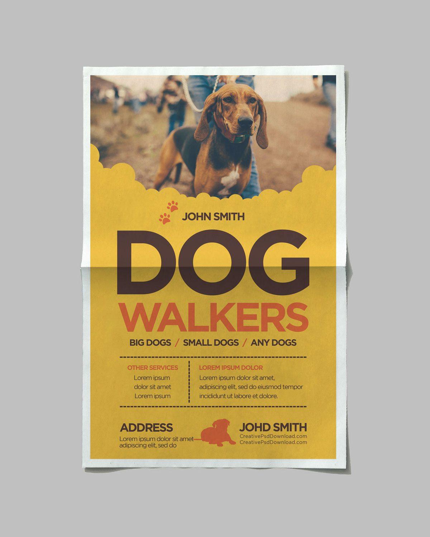 creative dog walkers flyer template. Black Bedroom Furniture Sets. Home Design Ideas