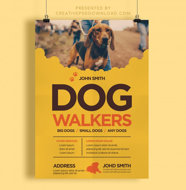 Creative dog walkers flyer template creativepsddownload for Dog walking flyer template free