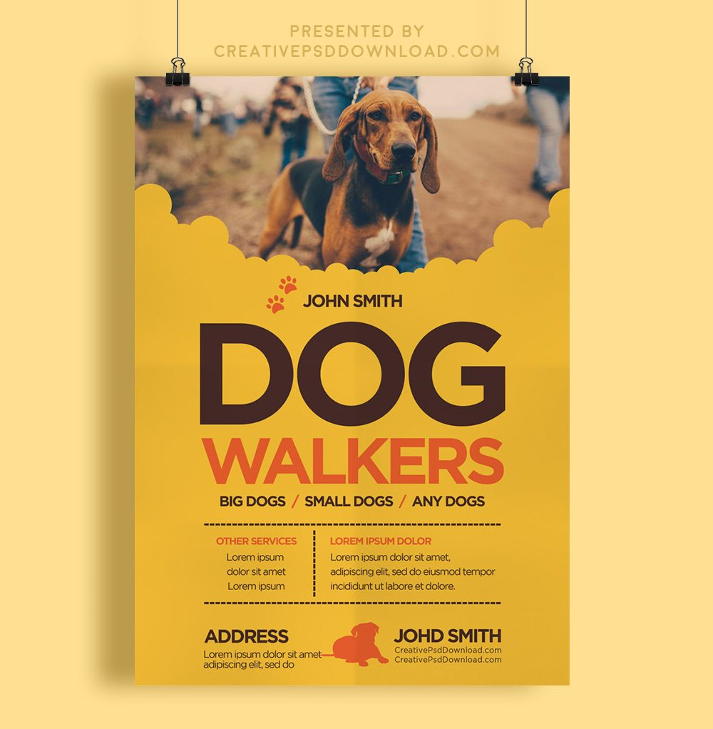 Creative dog walkers flyer template pronofoot35fo Choice Image