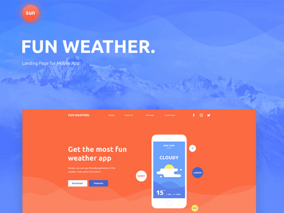 Creative Fun Weather: A free landing page template for your apps