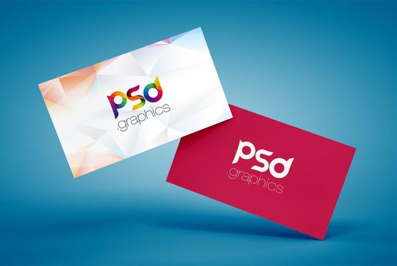 Creative Floating Business Card Mockup Free PSD