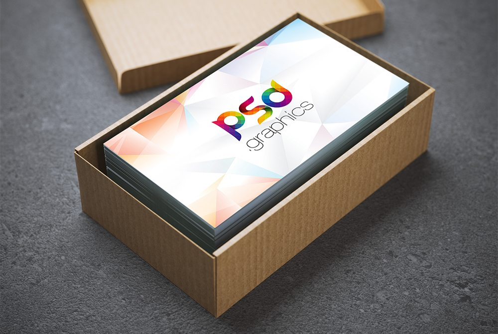 Creative Business Card in Cardboard Box Mockup Free PSD