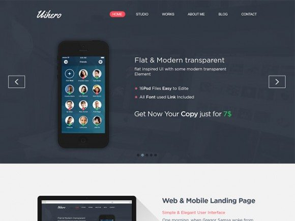 Creative Uihero ‰ÛÒ Free PSD website template