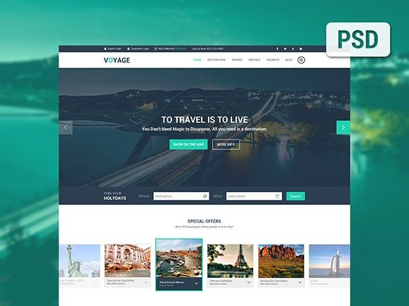 Creative Voyage ‰ÛÒ Free travel PSD template