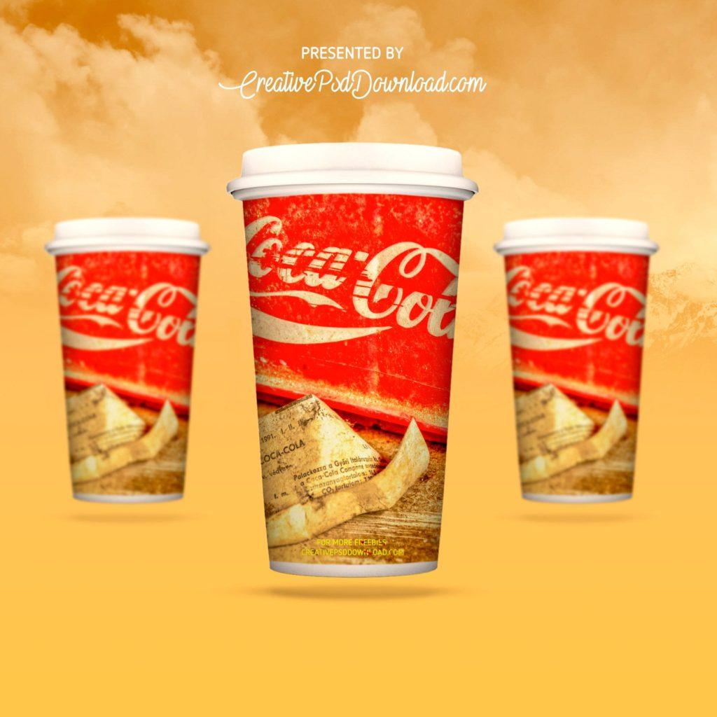 Coca cola branding cup mockup