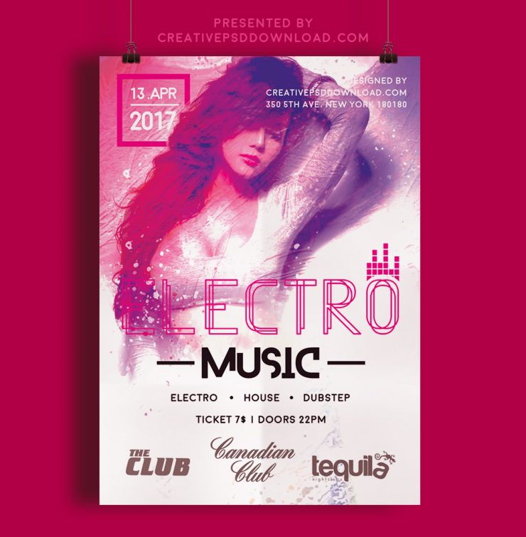 Creative electro music festive flyer