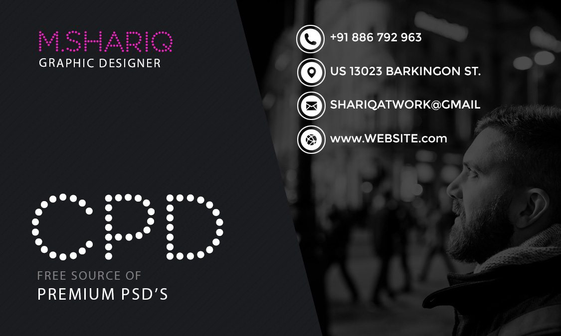 Dark Theme Graphic Designer Business Card Template Front