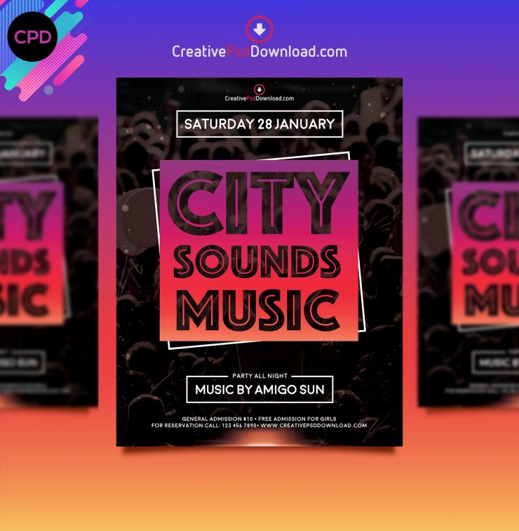 City Sounds Music Premium Flyer Template