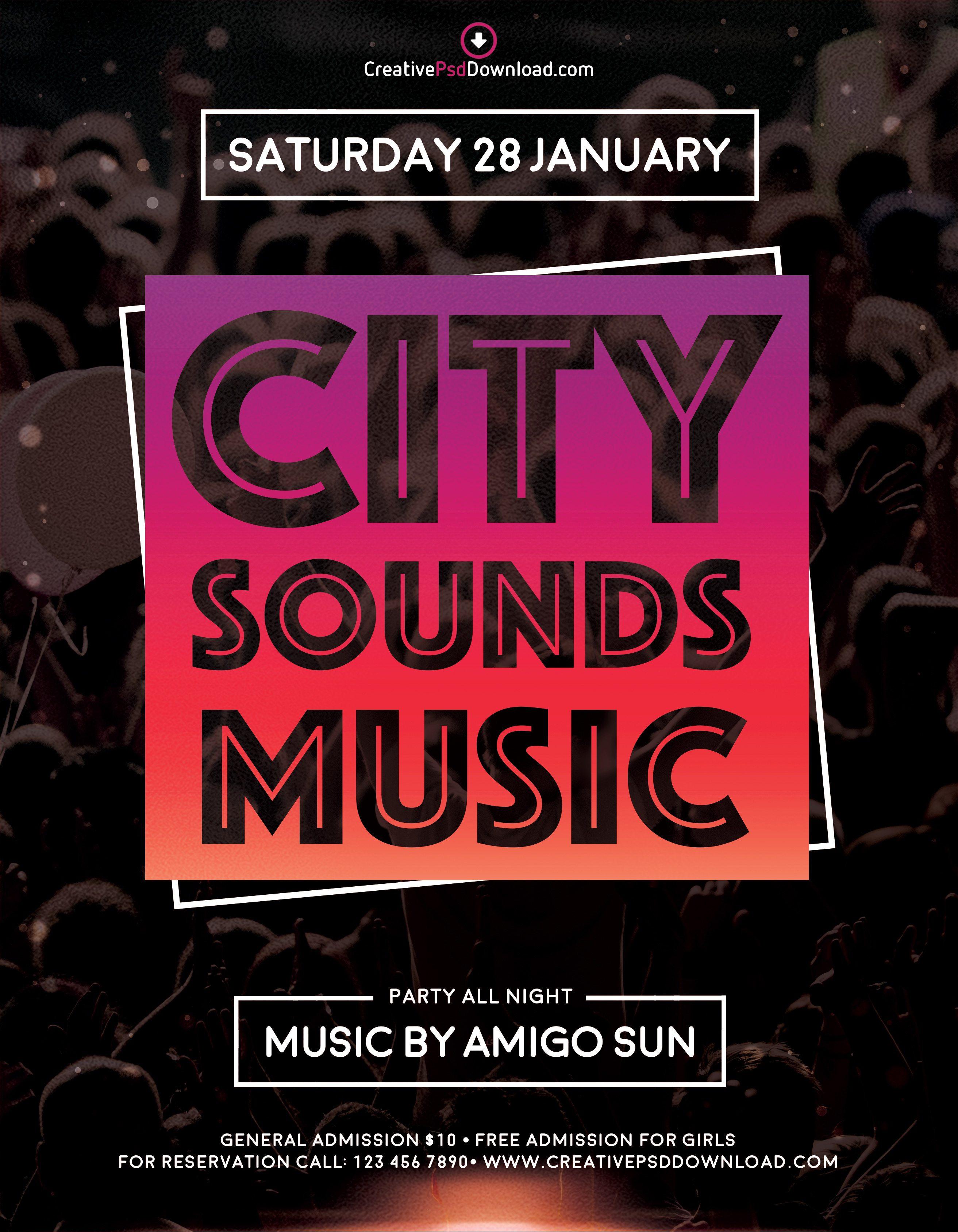 City Sounds Music Premium Flyer Template