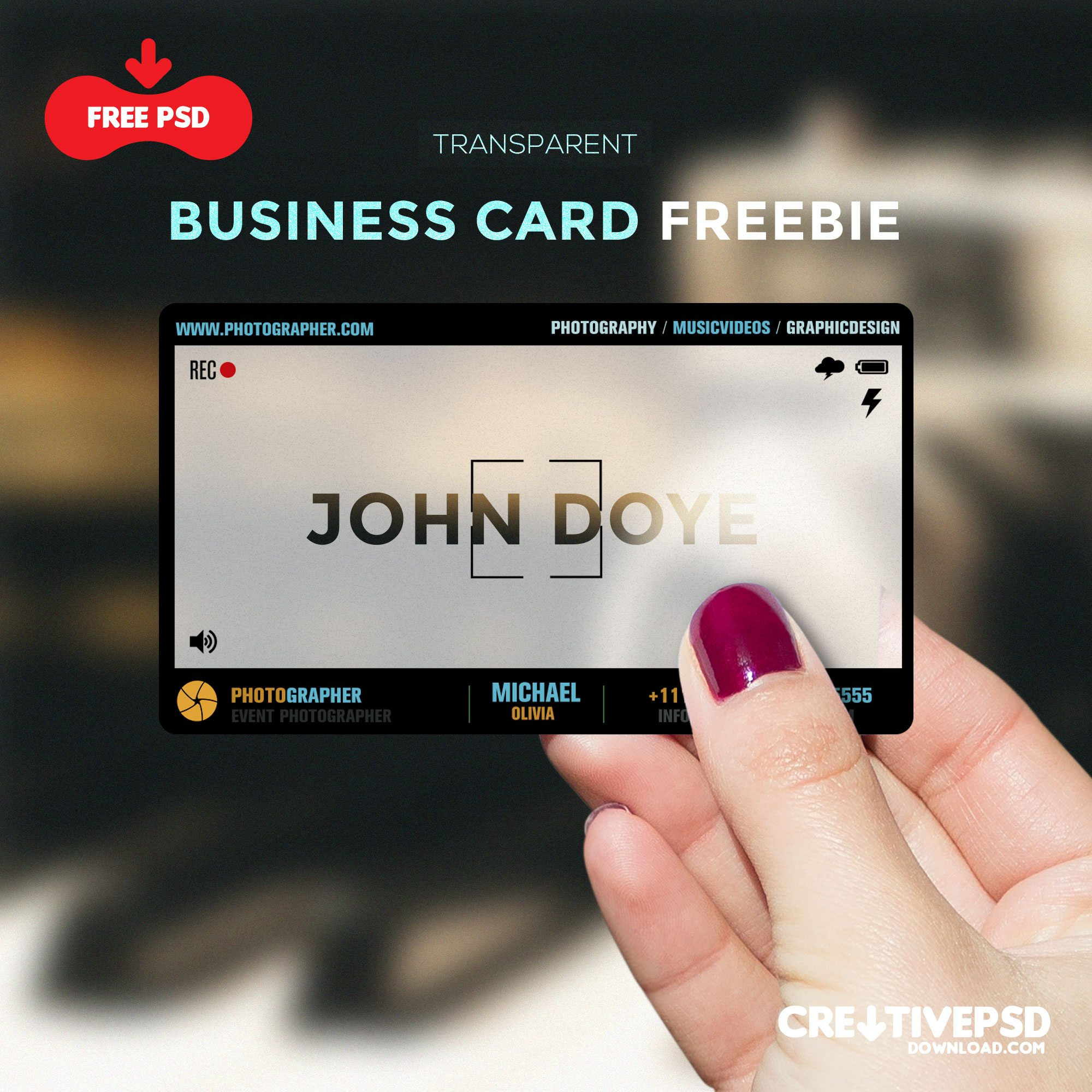 transparent visiting card freebie psd