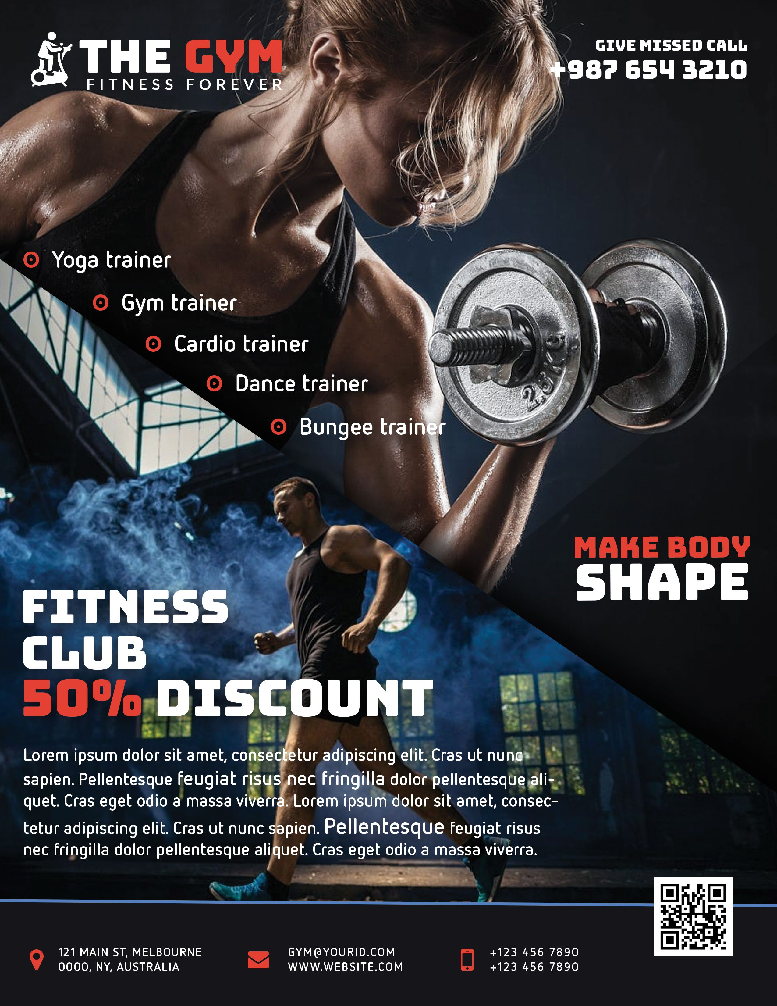 Style 2 The Gym Fitness Flyer Freebie PSD Cyan