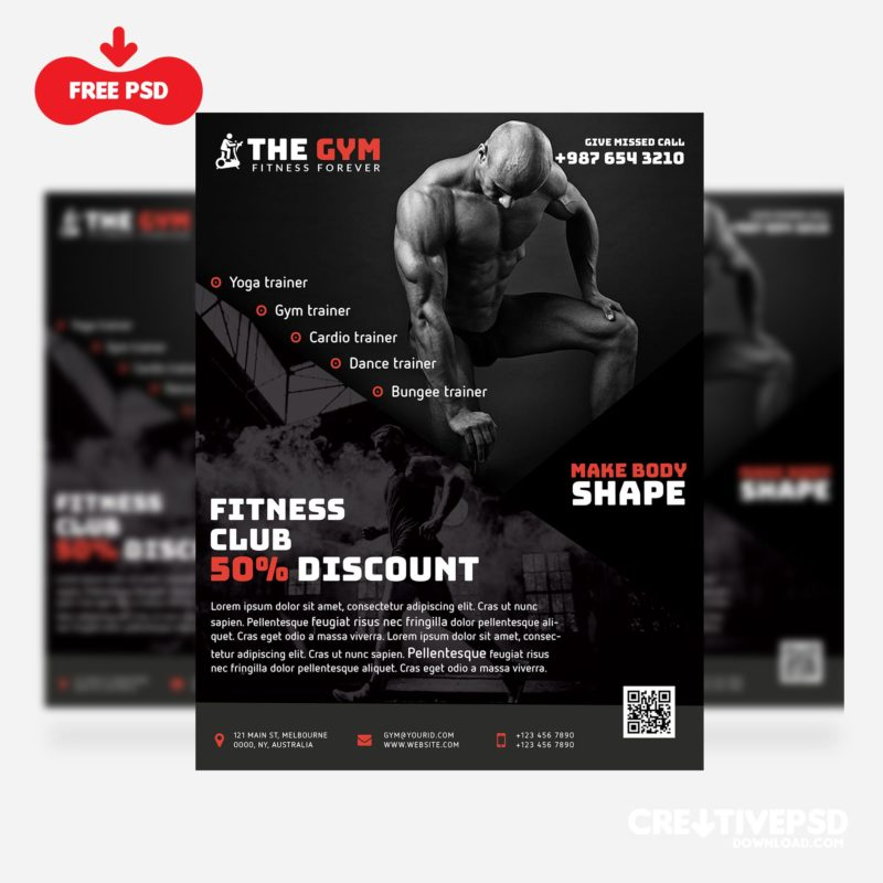 The Gym Fitness Flyer Freebie PSD Thumbnail, creative,creative psd,creative psd download,fitness flyer psd,fitness flyer template,flyer mockup,free flyer psd download,free psd download,freebies psd,psd freebies,the gym fitness flyer freebie psd