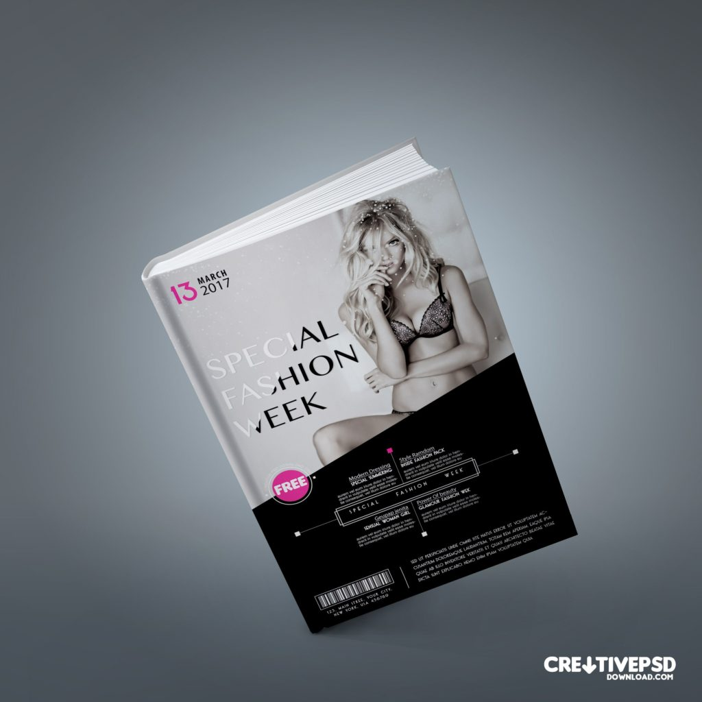 Fashion Book Cover Free PSD Mockup