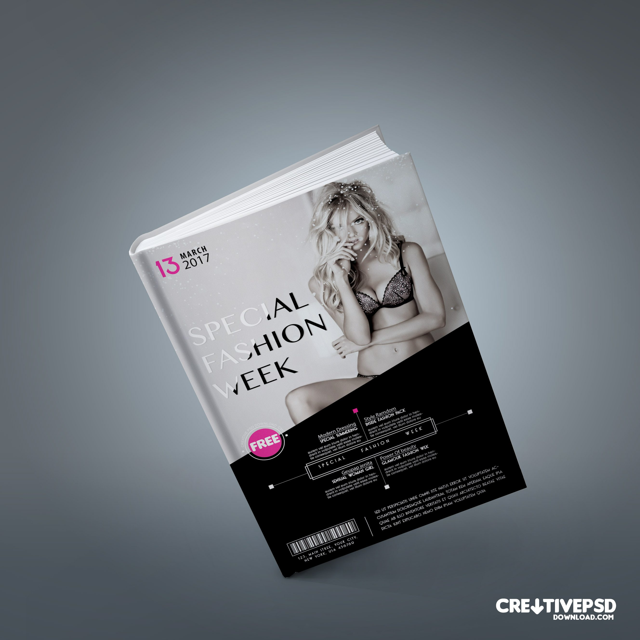 Fashion Book Cover Ups : Fashion book cover free psd mockup