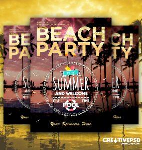 Summer Beach Party Flyer Free PSD