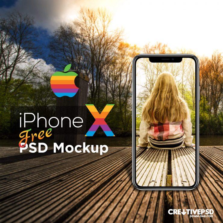 Realistic iPhone X Free PSD Mockup