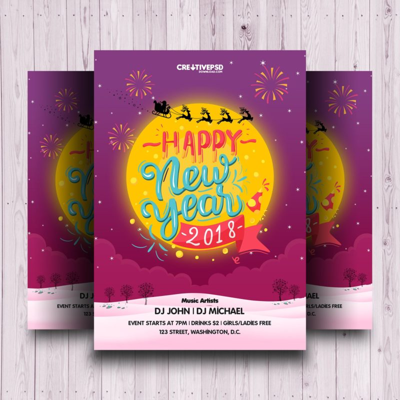 Happy New Year Invitation Flyer Psd
