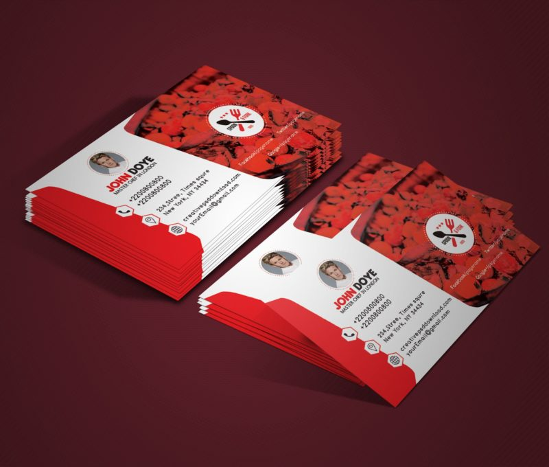 Chef business card free psd mockup reheart