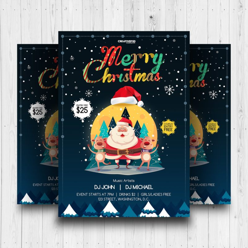 Christmas Party Flyer Free Psd Mockup