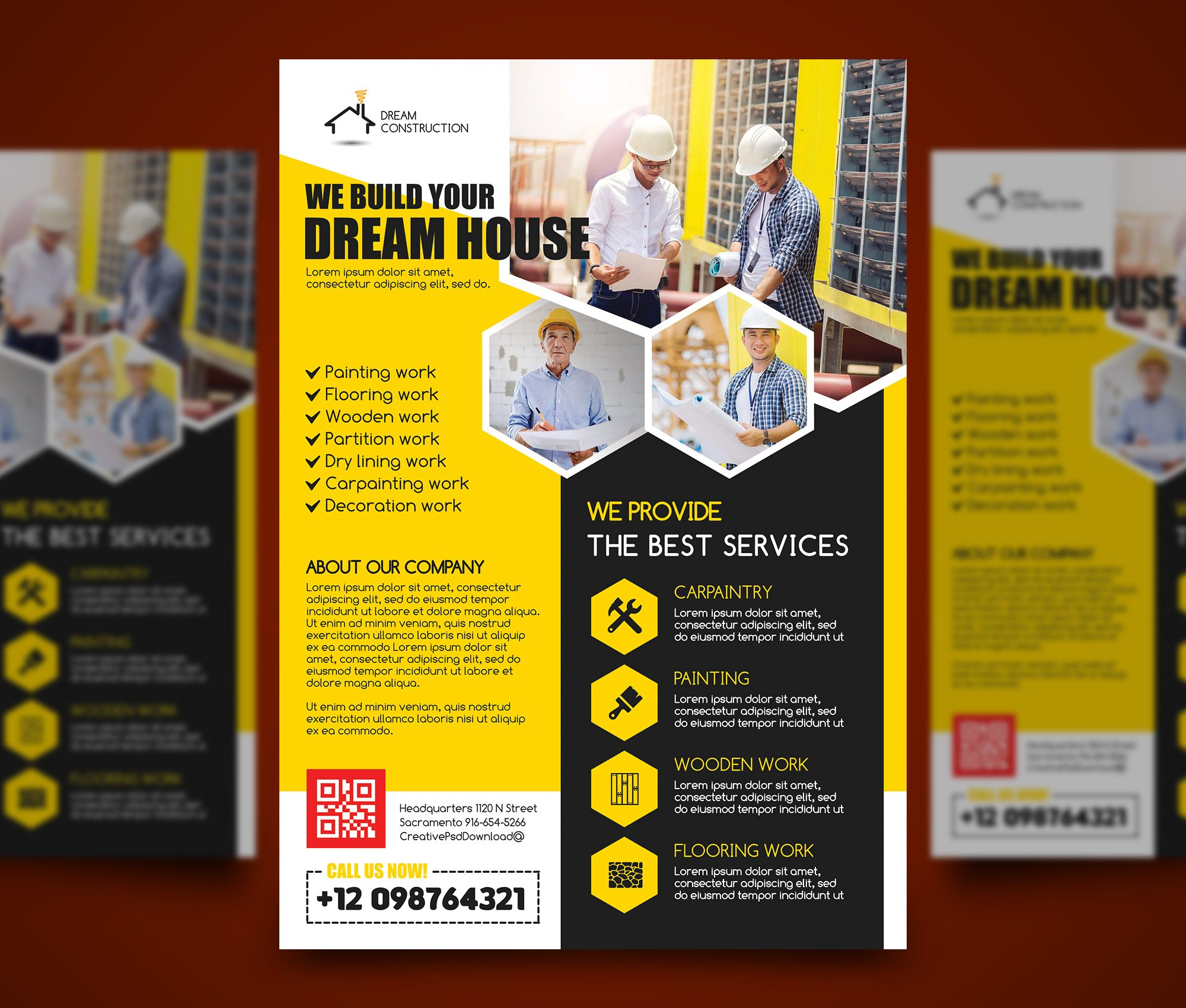 Construction flyer psd bundle freebie for Construction brochure design pdf
