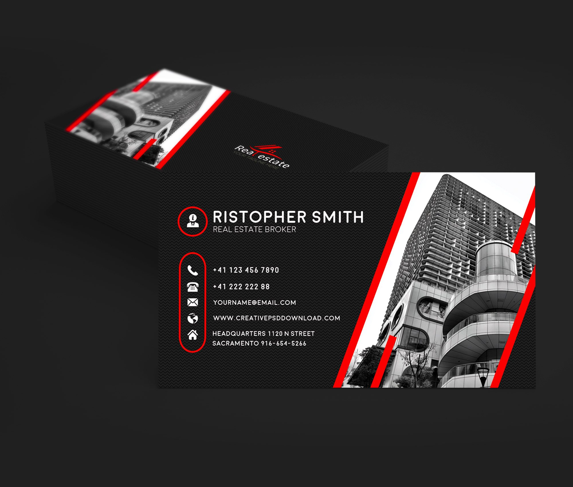 Real Estate Business Card PSD Template - Business cards psd template