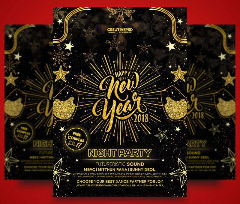 Happy New Year Party Flyer Free Psd